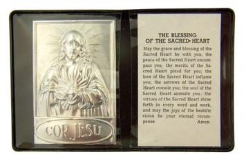 """Metal Sacred Heart of Jesus 2 1/4"""" Plaque w Prayer in Leatherette Pocket Folder"""