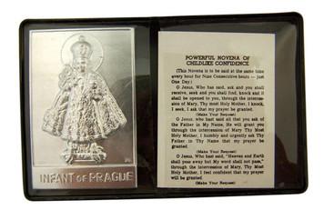 """Metal Infant of Prague 2 1/4"""" Plaque with Prayer in Leatherette Pocket Folder"""