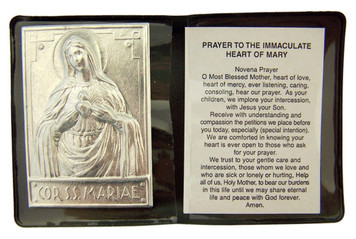 """Metal Immaculate Heart of Mary 2 1/4"""" Plaque with Prayer in Leatherette Folder"""