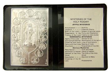 """Metal Mysteries of the Rosary 2 1/4"""" Plaque with Prayer in Leatherette Folder"""