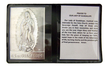 """Metal Our Lady of Guadalupe 2 1/4"""" Plaque w Prayer in Leatherette Pocket Folder"""