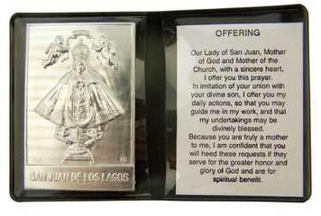 "Metal Catholic Virgin de San Juan 2 1/4"" Plaque w Prayer in Leatherette Folder"