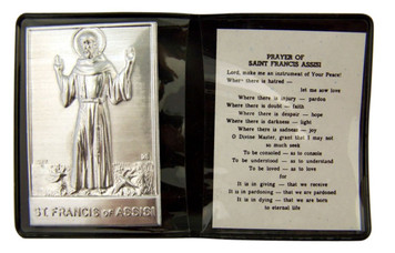 """Metal Saint Francis of Assisi 2 1/4"""" Plaque with Prayer in Leatherette Folder"""