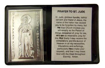 "Metal Catholic Saint Jude 2 1/4"" Plaque with Prayer in Leatherette Pocket Folder"