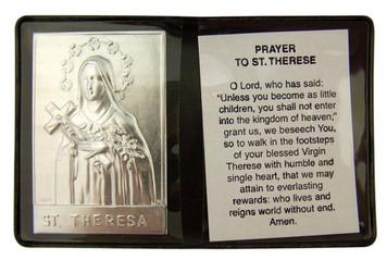 "Metal Catholic Saint Therese 2 1/4"" Plaque w Prayer in Leatherette Pocket Folder"