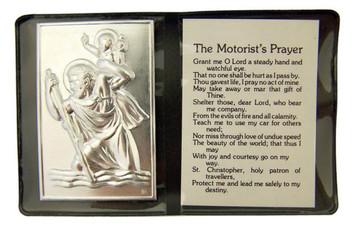 "Metal Catholic Saint Christopher 2 1/4"" Plaque with Prayer in Leatherette Folder"