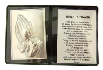 "Metal Praying Hands 2 1/4"" Plaque with Prayer in Leatherette Pocket Folder"