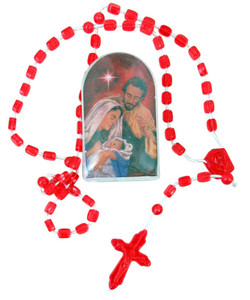Red Prayer Bead Holy Family 13 Inch Christmas Nativity Cord Rosary with Case
