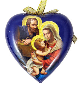 Adoring Holy Family Heart Shape Decoupage Nativity Christmas Ornament, 3 1/2 Inch