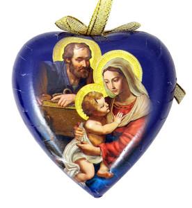 Adoring Holy Family Heart Shape Decoupage Nativity Christmas Ornament, 3 1/2 Inch