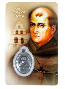 "Laminated Saint Junipero Serra 3 3/8"" Holy Prayer Card with Pray for Us Medal"