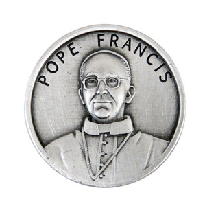 """Silver Tone Pope Francis 1 1/8"""" Pocket Token with Saint Francis of Assisi Back"""