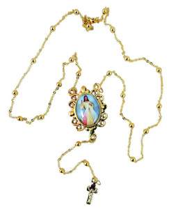 "Gold Tone 20"" Rosary Necklace with Divine Mercy Saint Pope John Paul II Centerpiece"