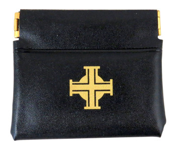 Squeeze Top Soft Vinyl 3-Inch Rosary Case with Gold Stamped Cross Design