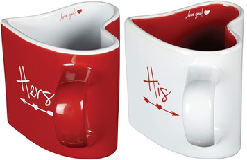 Word Art Ceramic His and Hers Heart-Shaped Love You Coffee Mug Set, 8 oz