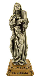 Pewter Saint St Cecilia Figurine Statue on Gold Tone Base, 4 1/2 Inch