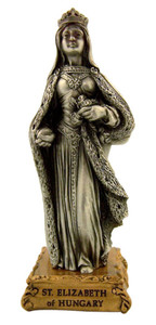 Pewter Saint St Elizabeth of Hungary Figurine Statue on Gold Tone Base, 4 1/2 Inch