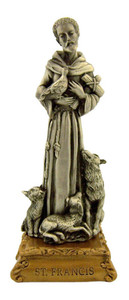 Pewter Saint St Francis of Assisi Figurine Statue on Gold Tone Base, 4 1/2 Inch