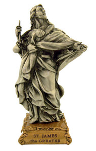 Pewter Saint St James the Greater Figurine Statue on Gold Tone Base, 4 1/2 Inch
