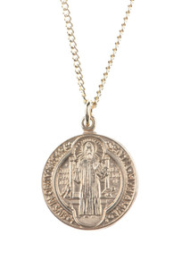 12kt Gold Filled Dime Size Saint Benedict True Medal, 3/4 Inch