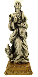 Pewter Saint St John the Evangelist Figurine Statue on Gold Tone Base, 4 1/2 Inch