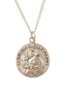 12kt Gold Filled Dime Size Saint Anne Medal, 3/4 Inch