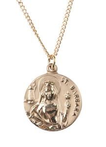 12kt Gold Filled Dime Size Saint Barbara Medal, 3/4 Inch