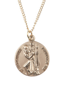 12kt Gold Filled Dime Size Saint Christopher Medal, 3/4 Inch