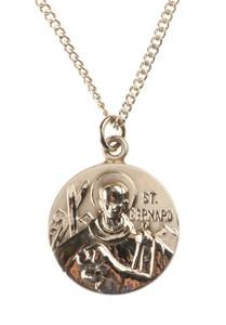 12kt Gold Filled Dime Size Saint Bernard Medal, 3/4 Inch