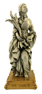 Pewter Saint St Lucy Figurine Statue on Gold Tone Base, 4 1/2 Inch