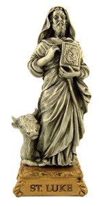 Pewter Saint St Luke Figurine Statue on Gold Tone Base, 4 1/2 Inch