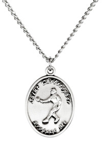 Ladies Pewter Saint Christopher Sports Athlete Medal, 7/8 Inch - Softball