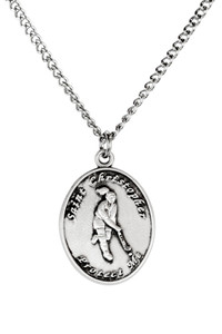 Ladies Pewter Saint Christopher Sports Athlete Medal, 7/8 Inch - Field Hockey