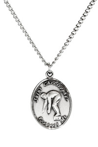 Ladies Pewter Saint Christopher Sports Athlete Medal, 7/8 Inch - Swimming