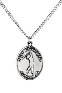 Ladies Pewter Saint Christopher Sports Athlete Medal, 7/8 Inch - Golf