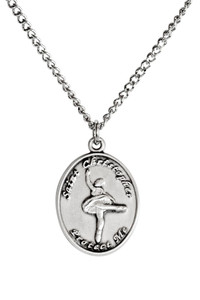 Ladies Pewter Saint Christopher Sports Athlete Medal, 7/8 Inch - Ballet