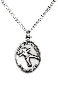 Ladies Pewter Saint Christopher Sports Athlete Medal, 7/8 Inch - Figure Skating