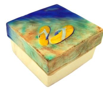 Capiz Shell Jewelry Trinket or Keepsake Box with Lid, 3 Inch - Flip Flops