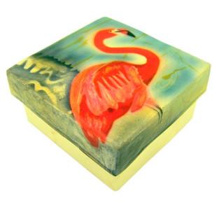 Capiz Shell Jewelry Trinket or Keepsake Box with Lid, 3 Inch - Flamingo
