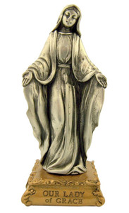 Pewter Our Lady of Grace Figurine Statue on Gold Tone Base, 4 1/2 Inch