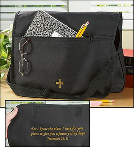 Black Canvas Embroidered Jeremiah 29:11 Messenger Tote Bag, 12 Inch