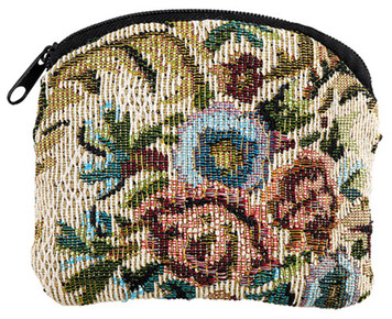 Ivory Floral Tapestry Rosary Pouch with Zipper Close, 3 1/4 Inch