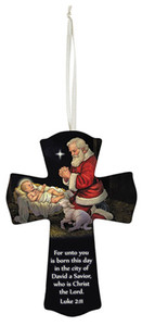 Adoring Santa Luke 2:11 Hanging Wood Wall Cross, 6 Inch