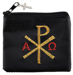 Chi Rho Embroidered Rosary Case with Silver Tone Crucifix, 3 1/4 Inch