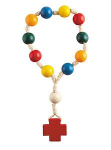 Child's Multi-colored Wood Prayer Bead Door Knob Rosary, 12 Inch