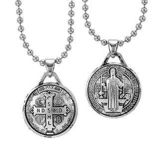 Silver Tone Saint Benedict Pillow Pendant Necklace, 3/4 Inch