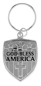 Silver Tone God Bless America Shield Key Chain with Engraved Prayer, 2 3/4 Inch