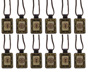 Moulded Scapular with Saint Benedict Panels, 14 Inch, Pack of 12
