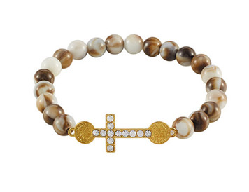 Brown Faux Marble Bead Saint Benedict Cross Stretch Bracelet, 7 Inch