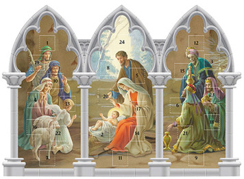 Triptych Standing Nativity Advent Calendar with Die Cut Pull Tabs, 11 1/4 Inch